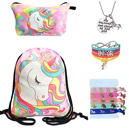 Unicorn Gifts for Girls - Unicorn Drawstring Backpack/Makeup Bag/Bracelet/Inspirational Necklace/Hair Ties (Pink Unicorn Head)