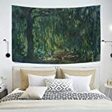 AHOMY Tapestry Wall Hanging, Claude Monet Weeping Willow Bedspread Picnic Bedsheet Blanket Wall Art Tapestry 60 X 40 inch