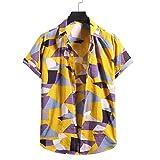 YSYOkow Camisa de manga corta para hombre de algodón de lino con botones de playa hippie