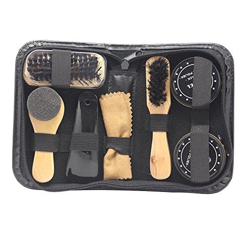 Accessotech - Kit 8 en 1 de viaje para limpiar zapatos, con maletín, cepillos y abrillantadores negro y neutro