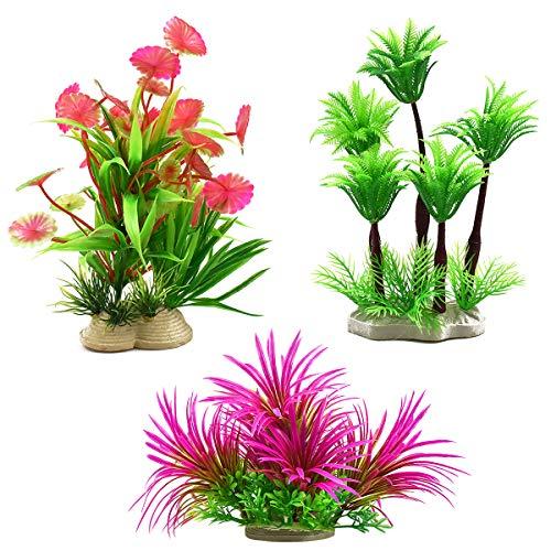 Dokpav 3 Stück Aquarium Pflanzen 6 * 16 cm Künstliche Wasserpflanzen Plastik Aquariumpflanzen Kunstpflanze Landschaft Deko