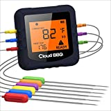 Wireless Digital Meat Thermometer,Cloud BBQ Bluetooth kitchen Thermometer with 6 Temperature Probes Smart Digital Cooking BBQ Thermometer and 500FT Range for Grilling Oven Food Smoker Thermometer Blue