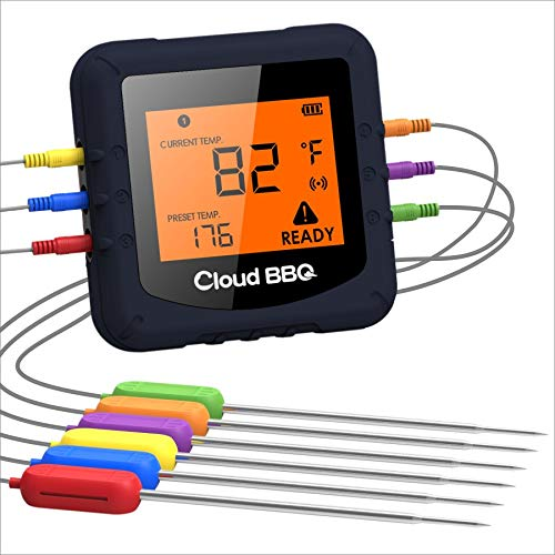 Wireless Digital Meat Thermometer,Cloud BBQ Bluetooth kitchen Thermometer with 6 Temperature Probes...