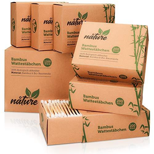 nåture Wattestäbchen Bambus 1200 Stück (6x200 Pack) Ohrenstäbchen nachhaltig produziert, Q-Tips zu 100% biologisch abbaubar und kompostierbar