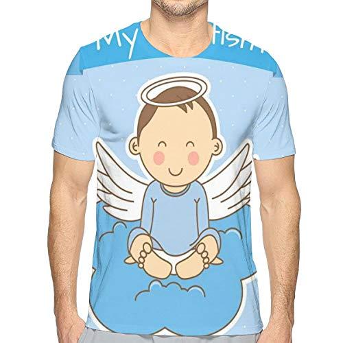 Preisvergleich Produktbild 3D Printed T Shirts, Baby with Wings On Cloud Boy Family Love Life Joyful Design Art Print, Mens Casual Short Sleeve Fashion Summer T-Shirt, Size:XL