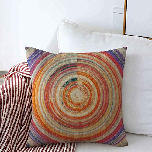 Moily Fayshow Pillowcase Surface Blue Beige Spherical Hi Retro Vintage Dusty Orange Violet Abstract Aged Ancient Burned Farmhouse Cushion Cover 16'