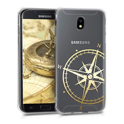 Preisvergleich Produktbild kwmobile Hülle kompatibel mit Samsung Galaxy J5 (2017) DUOS - Handyhülle - Handy Case Kompass Vintage Gold Transparent