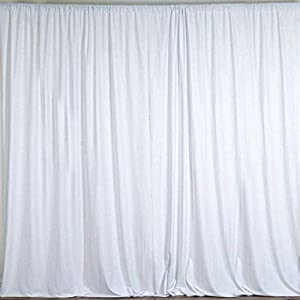 AK TRADING CO. 10 feet x 8 feet Polyester Backdrop Drapes Curtains Panels with Rod Pockets - Wedding Ceremony Party Home Window Decorations - White (DRAPE-5X8-WHITE)