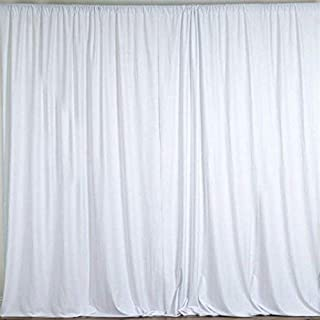 AK TRADING CO. 10 feet x 8 feet Polyester Backdrop Drapes Curtains Panels with Rod Pockets - Wedding Ceremony Party Home Window Decorations - White
