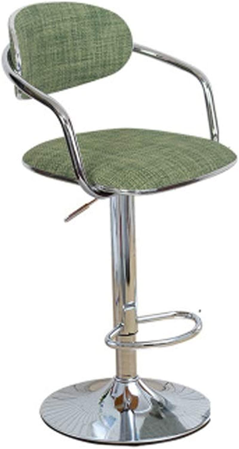 Barstool Nordic Simple Wrought Iron bar Chair Home high feet can be Raised and Lowered 6 colors 2 Sizes (color   Green, Size   60 to 80cm)