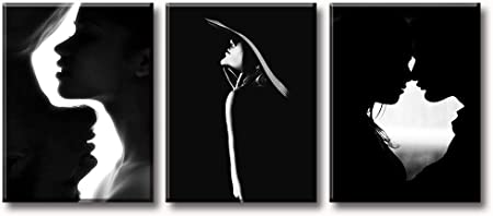 Amazon Com Couple Bedroom Decor Wall Art Black And White Canvas Print Silhouette Romantic Kiss Painting Modern Artwork Home Decor For Bathroom Living Room Stretched Framed Ready To Hang 12 W X 16 H X