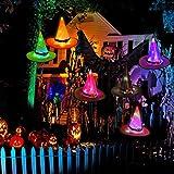 HOWAF 6pcs Halloween Hüte Leuchtend Dekorationen, Hexe Hüte Lichterkette Halloween Hängende Deko für Freien Hof Baum Garten Dekorationen Kostüme Zubehör, Leuchtender Hexenhut Lichter mit LED - 6
