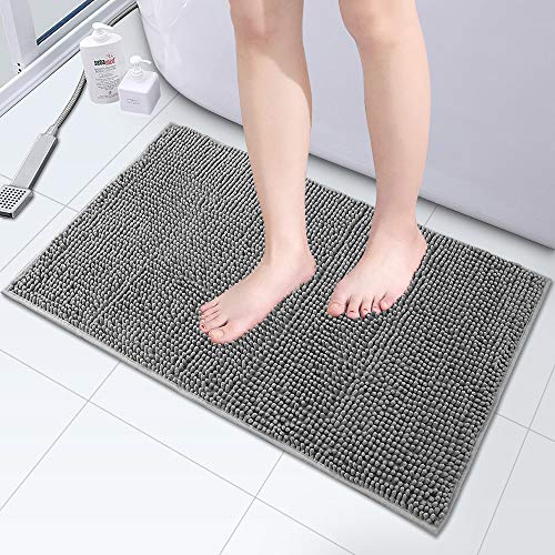 Luxus Chenille Bad Teppich Matte, 80x50CM, Extra weich und absorbierende Shaggy Badezimmer Matte Teppiche, starke Unterseite, Plush waschbare Teppich matten für Dusche, Badewanne und Bad(grau) (1-PCS)