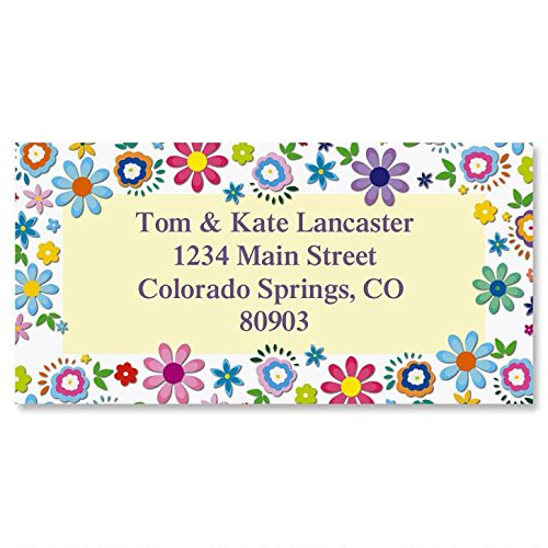 Cheerful Florals Personalized Return Address Labels – Set of 144, Large, Self-Adhesive, Flat-Sheet Labels with Floral Border, by Colorful Images