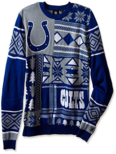 NFL INDIANAPOLIS COLTS PATCHES Ugly Sweater, Large>
