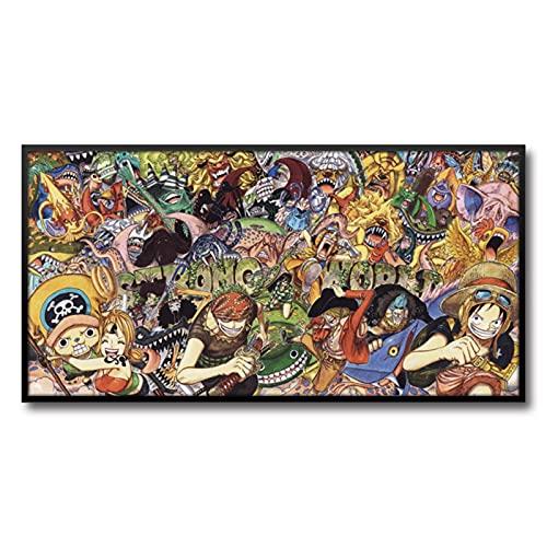 Pinturas de dibujos animados de una sola pieza, pinturas de la cabecera de la habitación de los niños, póster de la decoración de la sala de estar (color: F)