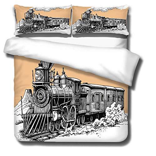 Juego de Funda nórdica Tren Negro Amarillo, cómodas y Suaves Juego de Ropa de Cama con 200 x 200 cm, 3D impresión, con Cremallera y Funda de Almohada (50x75 cm)
