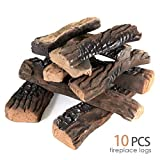 AVAFORT 10 Piece Gas Fireplace Logs, Ceramic Wood Gas Fireplace Log Set for Ventless, Propane, Gas, Gas Inserts, Vent-Free, Gel, Ethanol, Electric, Indoor, Outdoor Fireplaces, and Fire Pits (Large)