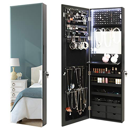USIKEY LED Jewelry Cabinet Wall/Door Mounted Lockable Jewelry Organizer with Full-Length Mirror, Jewelry Armoire Cabinet with 4 Drawers, Built in Makeup Mirror, Black