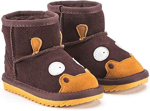 Snugs Boots Kinderstiefel aus Lammfell und Wild-Leder Stiefel für Kinder Jungen und Mädchen Lammfellschuhe - Braun, 23