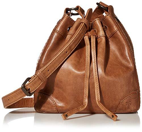 Frye Melissa Leather Drawstring Bucket Crossbody Bag, Beige