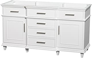 Wyndham Collection Berkeley 60 inch Single Bathroom Vanity in White with No Countertop, No Sink, No Mirror