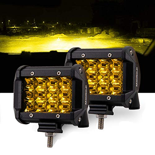 LED Lights Bar JEEP Car and Truck Fog Lights 4 Inch 36W Amber Light Work Lights 12V 24V 2 PCS Set Apply to Off Road,Jeep, Truck, Car, ATV, SUV (4INCH-36W-AMBER)