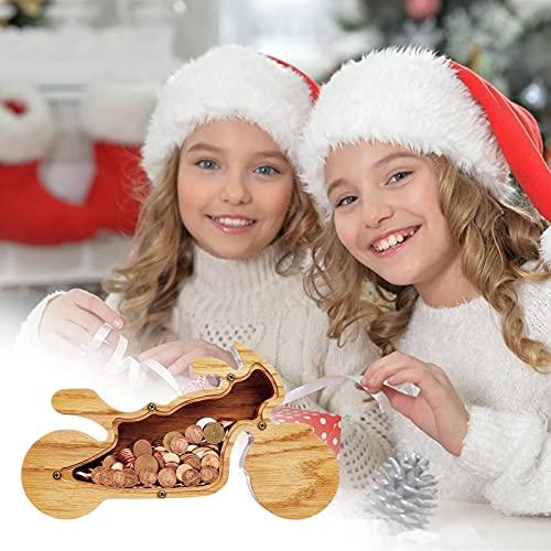 FUFRE Hucha de madera, diseño de cerdito de madera, superficie acrílica transparente, regalo de cumpleaños para niños y adultos
