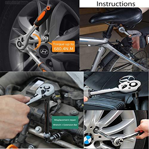 EzoLife 12pcs 1/4 Inch Ratchet Socket Wrench Set, Drive Socket Set with 10 Sockets 4-13mm Ratchet Handle and Extension Bar