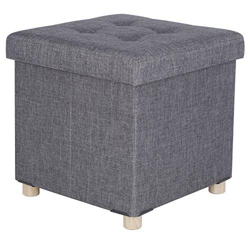 WOLTU Sitzhocker Sitzbank Faltbar Sitztruhen Aufbewahrungsbox, mit Abnehmbaren Holzbeine, Gepolsterte Sitzfläche aus Leinen, 38x37,5x38CM(BxTxH), SH25dgr