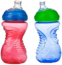 Nuby 2-Pack No-Spill Super Spout Easy Grip Cup, 10 Ounce, 6 Months +, Red and Blue