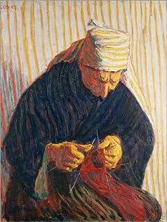 Posterlounge Cuadro de Aluminio 60 x 80 cm: Breton Peasant Woman Knitting de Roderic O'Conor