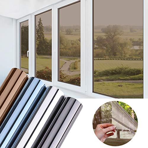 KINLO 45x200cm verspiegelte Folie Sonnenschutz selbstklebend Fensterfolie Sichtschutz und Hitzeschutz Sichtschutzfolie Spiegelfolie für Fenster Dunkel Kaffe