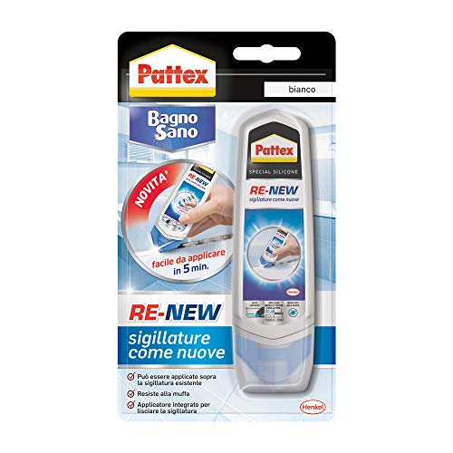 Pattex Bagno Sano Renew, Sigillante Bianco Autolisciante, Pratico Sigillante Impermeabile Facile da Usare, Sigillante Bagno Antimuffa per Sigillature Ottimale, 1 x 100 ml
