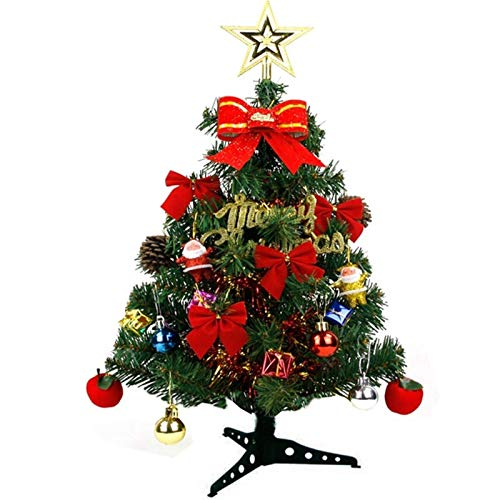 Mini Christmas Tree, Indoor Natural Ornaments Xmas Green Pine Tree Decorate With Ornaments Led Lights 1123 (Size : 45cm)