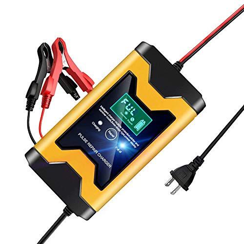 CUIJU Cargador de batería para automóvil Cargador de batería automático Inteligente de 12 V Cargador automotriz para automóvil Motocicleta Cortacésped (Amarillo)