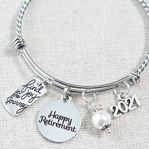2021 RETIREMENT Gift Bangle Bracelet, Find Joy in the Journey Congratulations Gift, 2021 Retirement Bracelet, Happy Retirement Gifts for Women