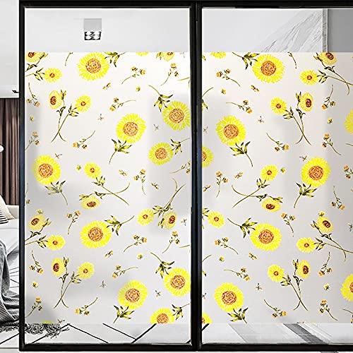 Película para Ventanas esmerilada con Protector Solar antiestático de Girasol Colorido, Utilizada para protección de la privacidad, película Familiar para Puertas y Ventanas Z 30x100cm