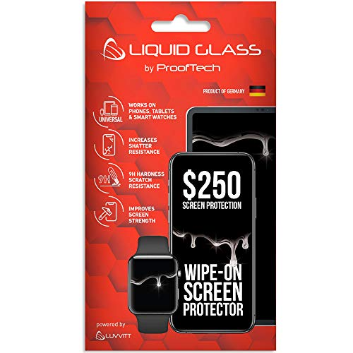 Liquid Glass Screen Protector with $250 Screen Protection - Scratch Resistant Wipe On Coating for All Phones Tablets Smart Watches - Universal