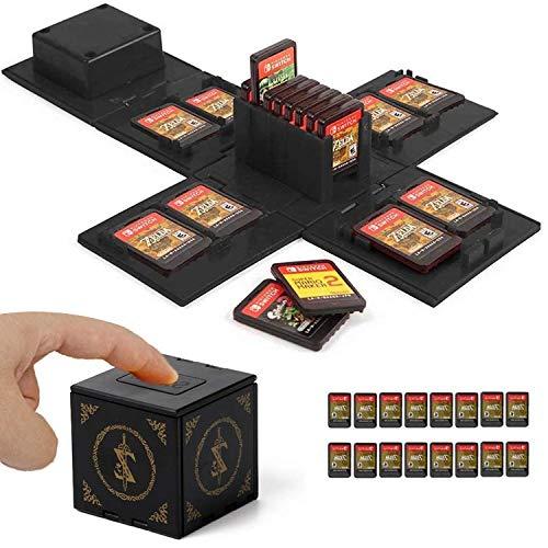 WIKEA Spielkartenhalter für NS - Nintendo Switch-Speicherkartenetui, Videospielkartenhalter mit 16 Spielkartensteckplätzen (Zelda Schwarz)