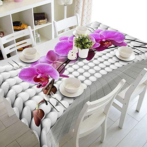 LPLH Mantel 3D Patrón de Flores Rosadas y púrpuras Paño Lavable Espesar Paño de Mesa de Boda Rectangular y Redondo si_Los 90 X 90cm