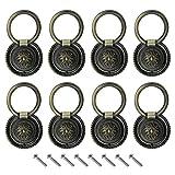 8X Rétro Anneau de Traction Poignées Boutons avec Vis Alliage de Zinc Bronze pour Armoire Placard Commode Tiroir