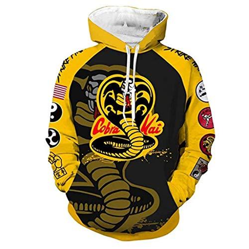 Cobra Kai Hoodie Damen, Herren Karate Kid Pullover Teenager Jungen Mädchen Kinder 3D Druck Jacke Männer Langarm Sweatshirt Kapuzenpullover Pulli Cobra Kai T-Shirt Shirt Hose Merchandise (07,S)