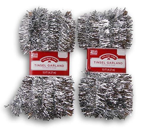 CHRISTMAS TIME. Christmas Tinsel Garland - Set of 2-15 Ft (Silver)