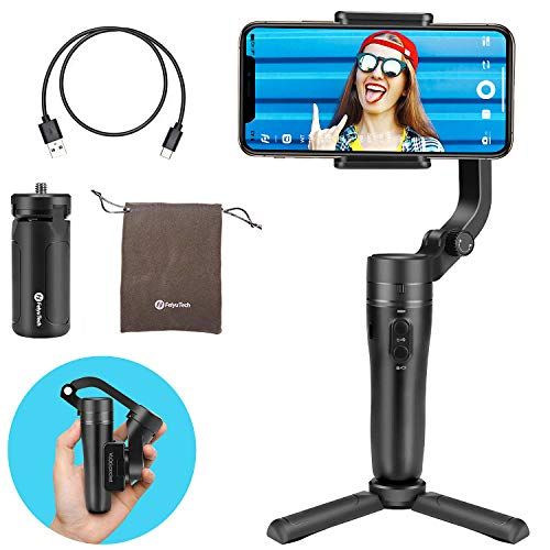 FeiyuTech VLOG Pocket Handheld Gimbal Stabilizer Foldable Pocket-Size 3-Axis with One Key Orientation Toggle Face/Object Tracking for iPhone 11 Pro Max and Smartphone (Black)