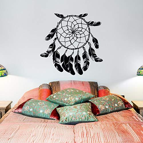 hetingyue grote muurtattoo dromenvanger muursticker vinyl sticker Indianen vogel veer slaapkamer grafisch