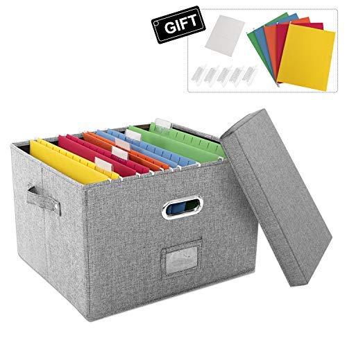 Caja organizadora de almacenamiento de archivos con tapa para oficina, plegable de lino con carpeta colgante para el hogar