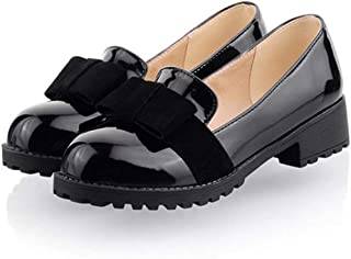 Women's Round Toe Patent Leather Slip On Shoes Sweet Bow Mid Heel Oxfords Loafers Shoes