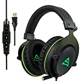 SUPSOO USB Stereo Gaming Headset for PC, Noise Cancelling Over Ear Headphones with Mic, Surround Sound, Soft Memory Earmuffs, Led Light for Laptop Mac Computer