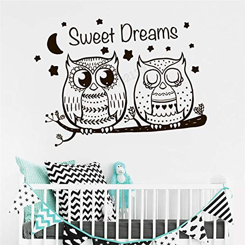 SFSDF Adhesivos de Pared Adhesivo de Pared Art Owl Decal Text Dress Up Poster Vinyl Removable Mural Waterproof Trees Nursery Decoration Kidsroom Decor 57X77CM